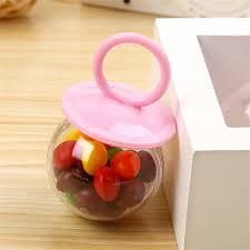 pacifier shaped candy 8pcs lot transparent plastic chocolate box pink blue pacifier