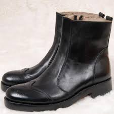 luxury mens goodyear welted boots unique black zipper wingtip