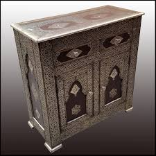 moroccan metal inlaid cabinet one living morocco