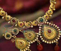 gold antique necklace sets images Nl4022 antique gold plated handmade multi colour simple elegant JPG