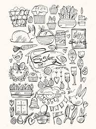 Easter Egg Decorating Bunny by Hand Draw Vector Set Of Easter Traditional Symbols Collection