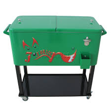 Cool Outdoor Furniture by Furniture Green Metal Patio Cooler Cart With Towel Bars For