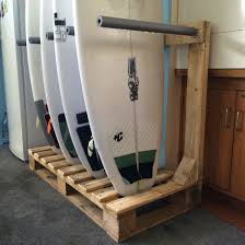 Wooden Kayak Storage Rack Plans by Surfboard Rack Diy From Old Wooden Pallets Up Cycled Surf
