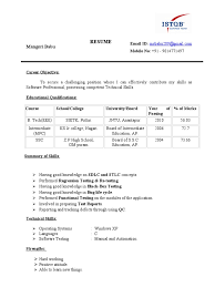 Sample Resume For 2 Years Experience In Manual Testing by Resume Babu Eee Fresher Istqb Certified