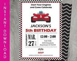race car boy birthday invitation template boy birthday party