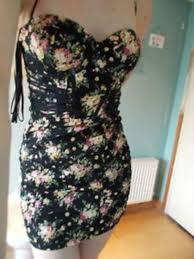topshop floral corset tea party dress 6 lace up black vintage chic