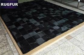 Cowhide Leather Rug Aliexpress Com Buy Natural Black Cow Hair Patchwork Rug For