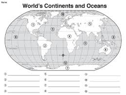 map world quiz world map world s continents oceans mapping activity map