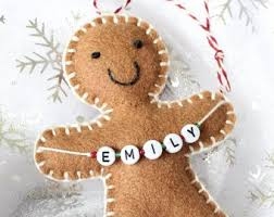 sewn personalised gingerbread made of felt message