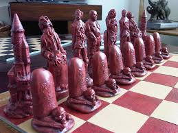 superb large collectable zombie undead halloween chess set