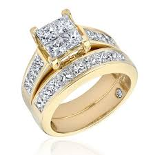 gold bridal set 14k yellow gold diamond studded bridal set engagement