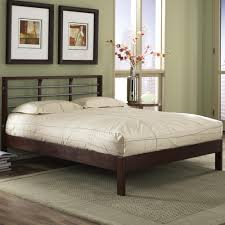 Bedroom Furniture Wood And Metal Fashion Bed Group Wood And Metal Beds King Delmar Bed W Side