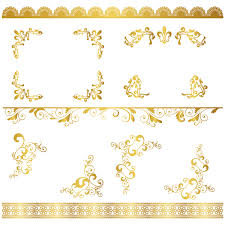 lace border with golden ornaments vectors set vector floral