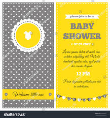 Baby Welcome Invitation Cards Templates Baby Shower Invitation Yellow White Gray Stock Vector 216432325