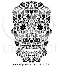 Day Of The Dead White Clipart Of A Black And White Ornate Floral Day Of The Dead Skull