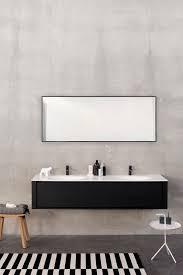 Metal Framed Bathroom Mirrors by Black And White Bathroom Decoration Using Rectangular Black Metal