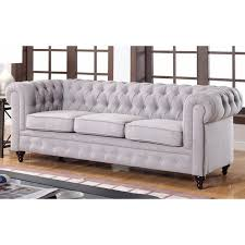 Chesterfield Sofa In Fabric by Grey Linen Chesterfield Sofa Centerfieldbar Com