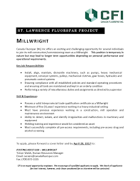 Quality Inspector Resume Millwright Resume Sample Resume For Your Job Application