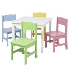 kids wooden table set w 4 chairs pastel multicolor u2013 best
