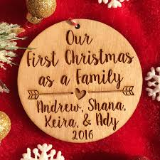 personalized first christmas as a family ornament personalized