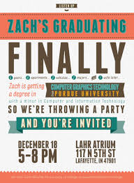 free typography style college graduation invitation indesign