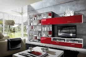 Wohnzimmerverbau Modern Wohnen Und Einrichten Mit Rot Wandfarben Möbel Und