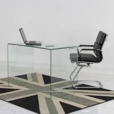 geo glass small clear glass desk eames style reception chair set
