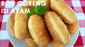 cara membuat donat isi ayam resep roti goreng isi ayam fried bread with chicken filling