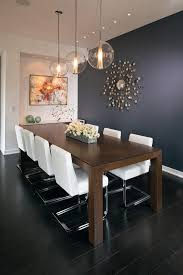 light walls dark woodwork dining room contemporary with navy blue