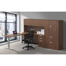 Standing Desk With Drawers by Electric Adjustable Standing Desk With Deluxe Hutch And Cabinet