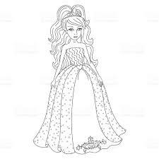 gentle princess shining dress spangles coloring book stock