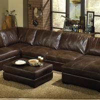 rustic brown leather sectional sofa with chaise loube also brown