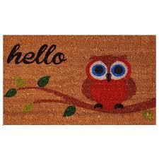 home u0026 more owl hello doormat u0026 reviews wayfair
