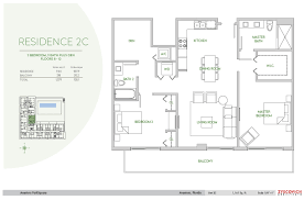 Square Meters by Aventura Parksquare 2c Floorplan 2 Bedroom 2 Bathroom