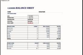 Drawer Balance Sheet Template Ms Excel Cashier Balance Sheet Template Templatezet
