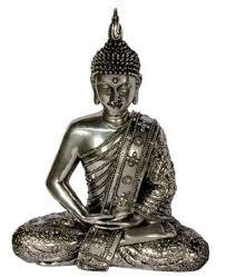 decorative silver finish sitting buddha statue ornament 30cm