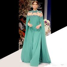 2016 indian green formal celebrity dresses high collar long