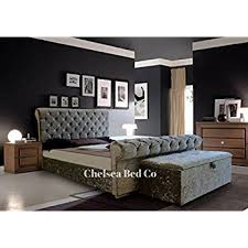 Grey Sleigh Bed Chesterfield Bed Sleigh Style Crushed Velvet Diamante Bed Grey