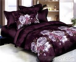 Cotton Bedding Sets Luxurious Purple Peony Satin Cotton 4 Bedding Sets Purple