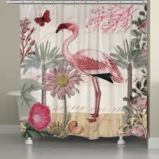Flamingo Shower Curtains Botanical Flamingo Shower Curtain Laural Home