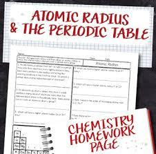 atomic radius periodic table trend chemistry homework worksheet tpt