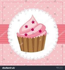 Cherry Cupcake Invitation Card Royalty Pink Birthday Card Cup Cake Vector Stock Vector 105538628