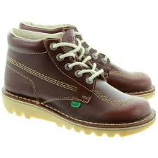 womens kickers boots kickers leather kick hi mens lace ankle boots in burgundy in burgundy