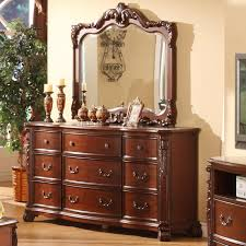 Bedroom Dresser With Mirror Lifestyle Frenchy Traditional 9 Drawer Dresser And Mirror With