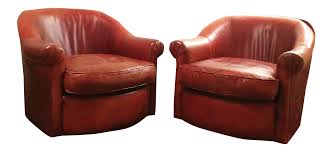Club Swivel Chairs by Vintage Cognac Leather Club Swivel Chairs Pair Chairish
