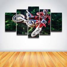 Living Room Art Sets 2017 5 Panel Printed Sport Motorcycle Picture Painting For Wall