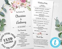 Download Wedding Program Template Printable Wedding Program Template Mr U0026 Mrs Instant Download