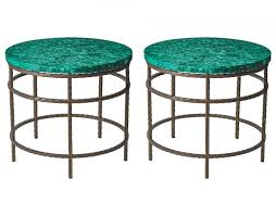 Iron Side Table Malachite Bronzed Iron Side Table By Rene Houben 1988 For Sale