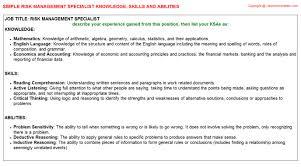 risk management specialist knowledge u0026 skills
