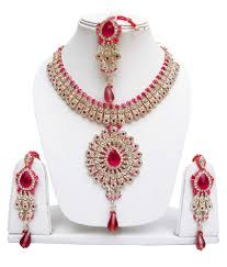 pink necklace set images Pink and golden alloy necklace set with maang tika pretty lady jpg